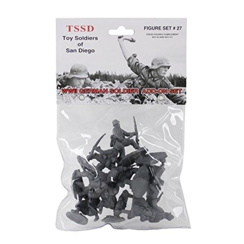 TSSD WW2 German Soldiers: 8 GRAY 1:32 Plastic Army Men Figures