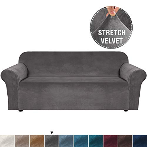 H.VERSAILTEX Velvet Stretch Sofa Cover Extra Large Couch Covers Sofa Covers Couch Furniture Covers for Living, Soft Thick Non Slip with 2 Elastic Straps, Washable (Extra Wide Sofa 96'-116', Grey)