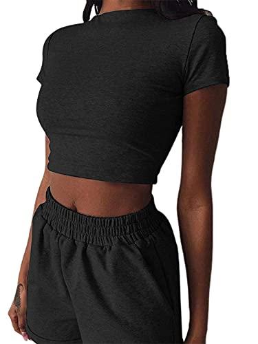 2 Pieces Set Women Textured Workout Shorts Sets Short Sleeve Crop Top + High Waist Short Pants Suits Biker Shorts Yoga Outfit,Casual Outwear Cloth Sets (Black, Medium)