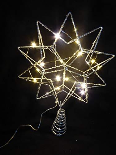 Weihnachtsschmuck, glitzernder Stern, 35cm groß, batteriebetrieben, LED-beleuchtet, Silber-Glitzer, für den Innenbereich, alsChristbaumspitze geeignet