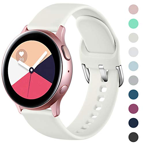 Wepro Armband Kompatibel mit Samsung Galaxy Watch Active/Active2 40mm/44mm, 20mm Weiche Silikon Ersatz Uhrenarmbänder Kompatibel mit Samsung Galaxy Watch 42mm/Gear S2 Classic/Gear Sport, Klein Beige