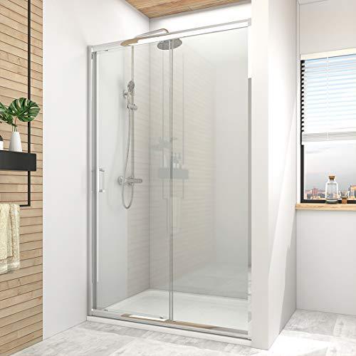 Hausbath 120 x 185 cm Duschtür Gleittür Schiebetür Einzelrahmenstruktur Duschabtrennung Duschkabine 6mm ESG Sicherheitsglas mit Quadratischer Griff aus Zinklegierung