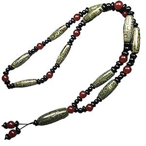 ZHIBO Tibet grüner Achat 9 Augen Dzi Perlen Halskette Pulloverkette