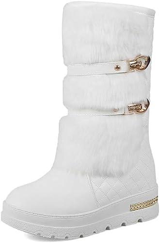 Moojm Bottes femmes, bottes de neige femmes plus velours pour garder chaud Wedge orteil rond Slip on Mid bottes longues