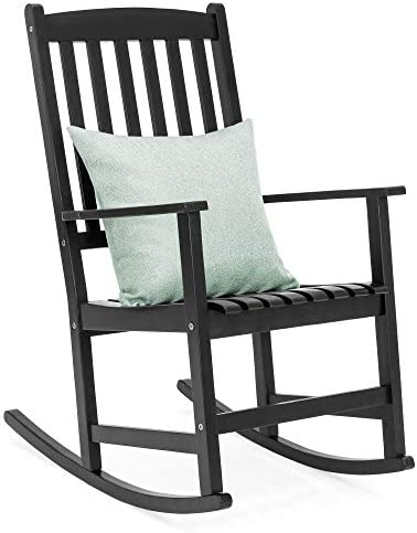 Best Best Choice Products Indoor Outdoor Traditional Slat Wood Rocking Chair Furniture for Patio, Porch,