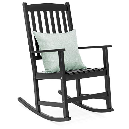 Best Choice Products Indoor Outdoor Traditional Wooden Rocking Chair Furniture w/Slatted Seat and Backrest, Black