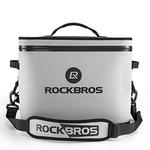 ROCKBROS Soft Cooler 30 Can Insulated Leak Proof Soft Pack Coolers Waterproof Soft Sided Cooler Bag for Camping, Fishing, Road Beach Trip, Golf, Picnics (White)