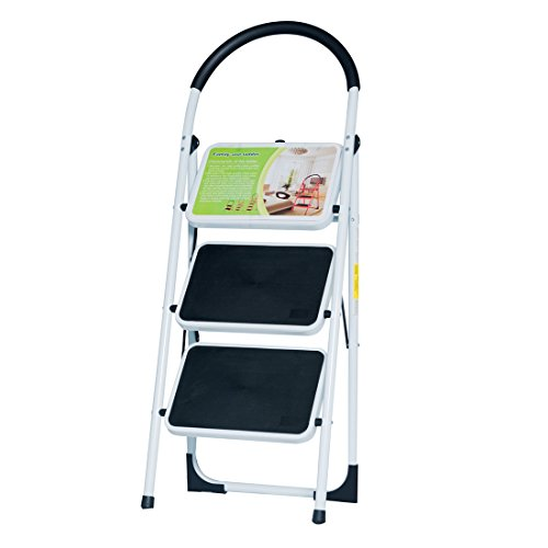 Good Life EN131 Folding 3 Step Ladder Home Depot Steel Step Ladders Lightweight 300 lb Capacity with Hand Grip Anti-Slip and Wide Pedal (3 Step)