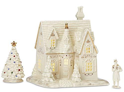 Lenox Mistletoe Park Cottage 3-Pc. Starter Set, House, Xmas Tree & Figurine Village Treasures Series