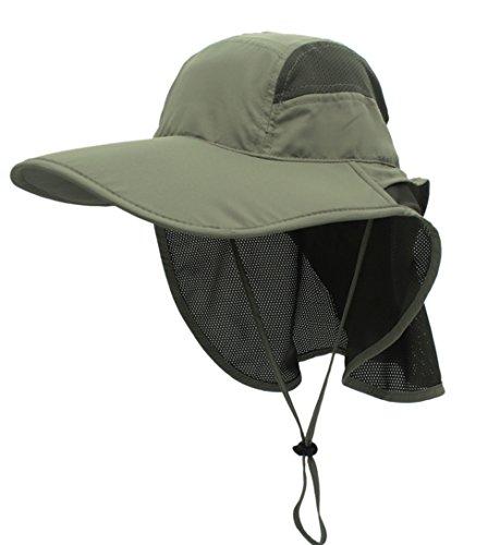 gg st Sonnenhut Herren Damen UPF 50+ Outdoor UV Summer Cap mit Nackenschutz Hiking Fischerhut Strand Faltbar Safari Buschhüte Mesh Hat, Armeegrün