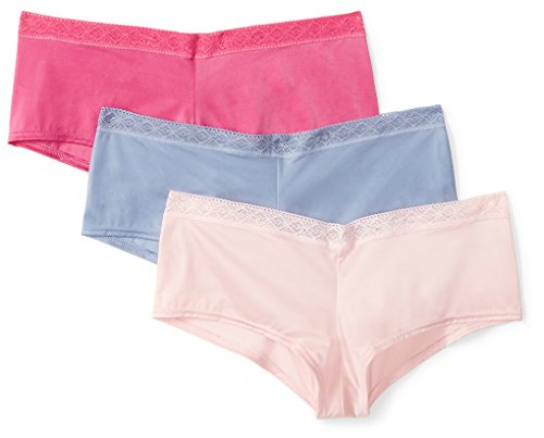 Amazon Brand - Mae Women's Soft Microfiber Cheeky Panty with Lace, 3 Pack,Stonewash Blue/Magenta/Peach,X-Large