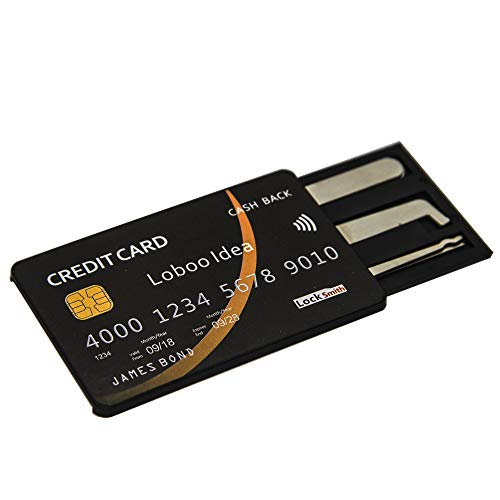 Loboo Idea Kit di strumenti di prelievo della serratura con carta di credito a 5 pezzi, attrezzi per fabbro Pick di blocco per allenamento, principianti, prelievo di blocco