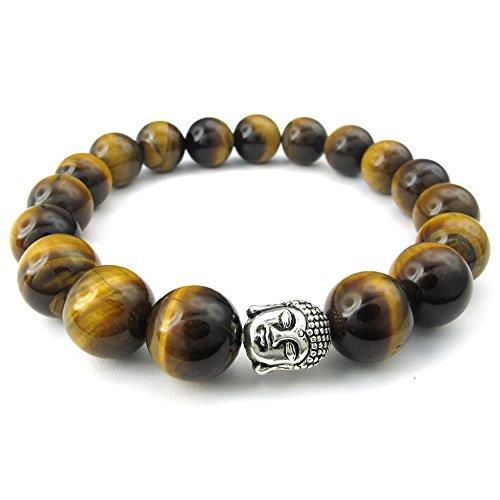 KONOV Joyería Pulsera de hombre, 12mm Bola, Budismo Budista Cuentas Mala, Ojo de Tigre Aleación, Color marrón plata (con bolsa de regalo)