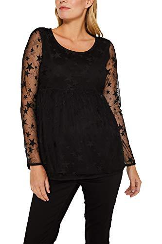 Esprit Maternity Top LS Jacquard Camiseta de Tirantes premamá, Negro (Black 001), 38 (Talla del Fabricante: Small) para Mujer