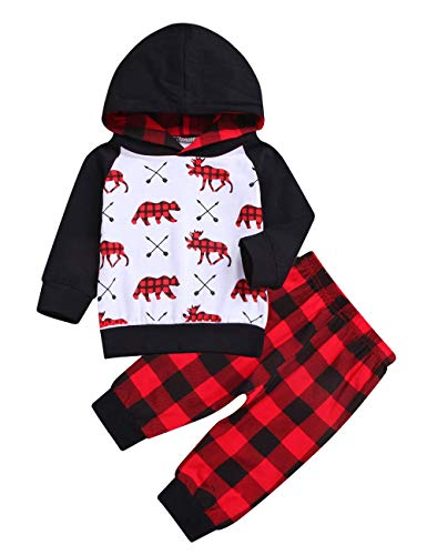 Baby Boy Clothes Bear Deer Printed Long Sleeve Hoodie Tops +Red Plaid Pants Outfit Se(12-18Month