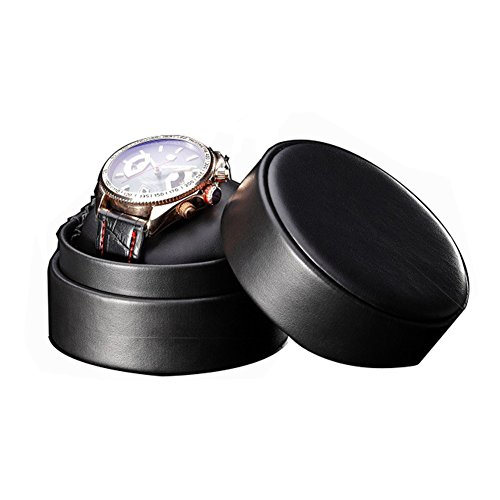 GossipBoy Schwarz PU Leder Schutzhülle - Herren Damen Runde Travel Watch Organizer Box, Single Box