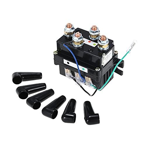 Huajin Relé Solenoide de Trabajo Pesado de 12V Actualización Equiv 500A AMP Recuperación 4x4 17000lb