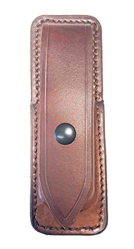 WESTERN IMAGES LEATHERWORKS, INC. Sportsman's Chest Rig Holster Add-on Magazine Pouch (Double Stack .9mm 16-17 Round Magazine, Brown)