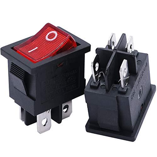 mxuteuk 8 piezas de interruptor basculante de bote a presión, encendido/apagado, encendido/apagado, (puede elegir) CA 250 V 6 A 125 V 10 A, uso para auto, barco, electrodomésticos, 1 años de garantía