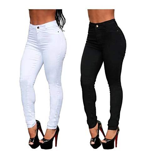 Kit com 2 Calças Jeans Femininas Cintura Alta (Preta/Branca, 40)