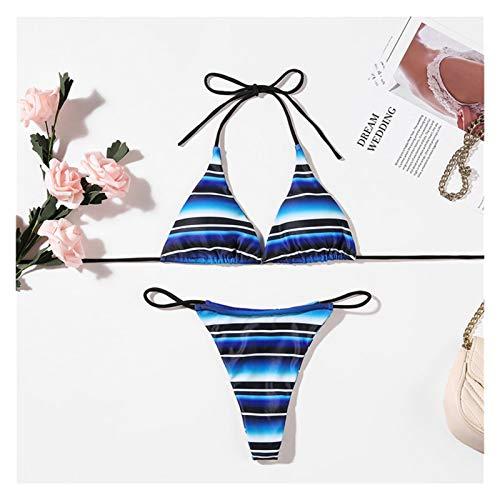 JJH Damas Halter Mini Bikini, Traje de baño con Rayas Sexy, Conjunto de Traje de baño de Micro 2 Piezas, Regalo para su Novia de Esposa, 2021 Primavera Verano (Color : Blue, tamaño : Medio)