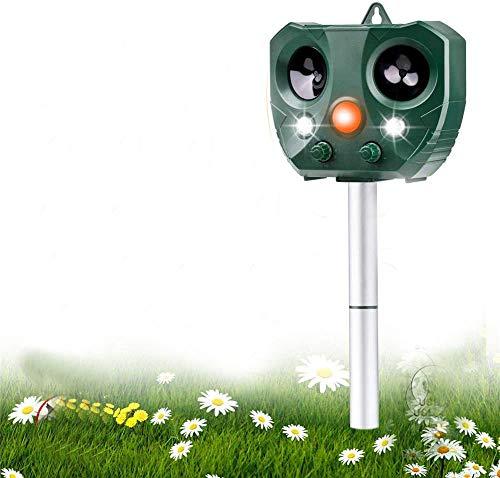 Ultrasonic Animal Repeller Outdoor Cat Repeller Waterproof Solar Rechargeable Battery Operated Fox Deterrent Cat Scarer Repellent for Gardens