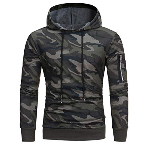 MENHG Herren Camo Printed Langarm Full Reißverschluss Kordelzug Hooded Hoodies Pullover Herren Camouflage Warm Windproof Sweatshirt Muscle Bodybuilding Tops Mantel Jacke Outwear mit Kangaroo Pockets