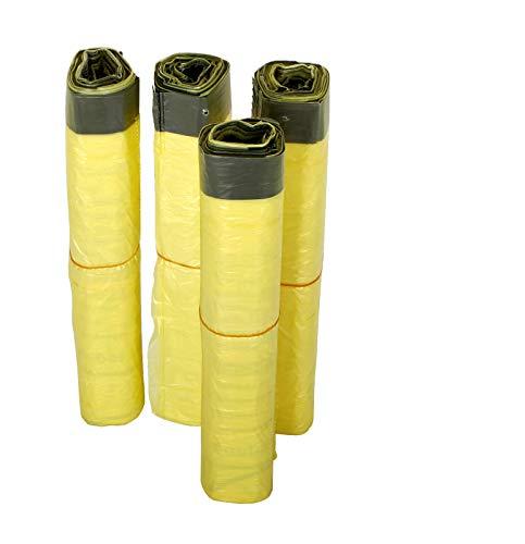 KK Verpackungen® Gelber Sack | 4 Rollen mit jeweils 13 gelben Säcken | 52 Wertstoffsäcke nach Dualem System Deutschland mit Zugband | Müllbeutel mit 90 L Volumen & aus LDPE-Folie