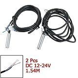 DealMux 2 Pcs PR08-1.5DN 1,5 mm de proximidad inductivos detección del sensor de interruptor de CC 12-24V NPN NO 2 hilos