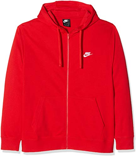Nike Herren Sportswear Club Hoodie mit Durchgehendem Reißverschluss, University Red/University Red/White, L