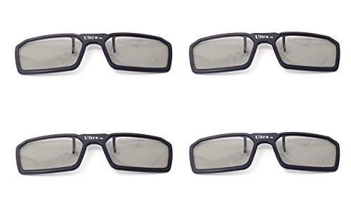 Ultra 4 Black Pairs 3D Clip On Glasses Passive 3D Glasses Men Women...