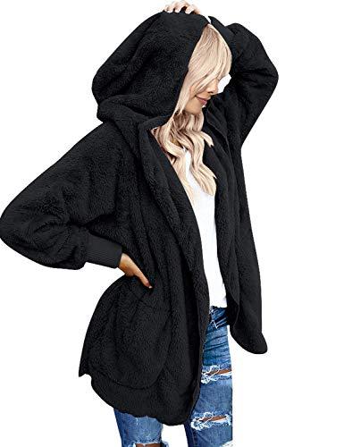 LookbookStore Women's Oversized Open Front Hooded Draped Pocket Cardigan Coat Fleece Sherpa Cardigan Size M (Fit US 8 - US 10) Black Fluffy Coat Oversized Bear Coat