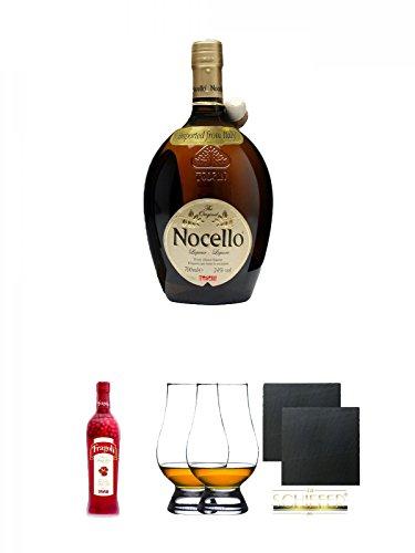 Toschi Nocello Nusslikör 0,7 Liter + Toschi Fragoli 0,7 Liter + The Glencairn Glas Stölzle 2 Stück + Schiefer Glasuntersetzer eckig ca. 9,5 cm Ø 2 Stück