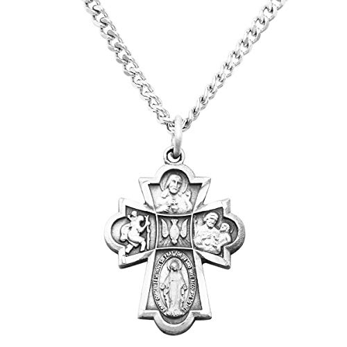 Rosemarie Collections Small Religious Four Way Cross Pendant Necklace 18