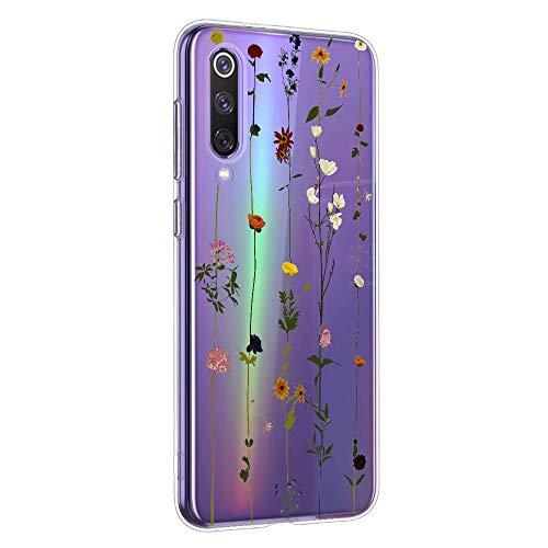 LG K8/K9 2018 Case Transparent,Oihxse Kompatibel mit LG K8/K9 2018 Silikon Hülle mit Blume Motiv Ultra Dünn Durchsichtige Case 360 Grad Schützen,Schutzhülle Slim Stoßfest TPU Bumper (A6)