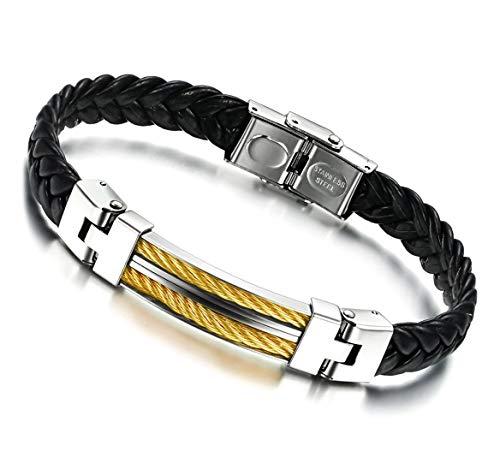 Stayoung Jewellery Puente de Amor Hombre Acero Inoxidable Pulsera/Brazalete Cuero Negro 3 Colores-Amarillo Plateado