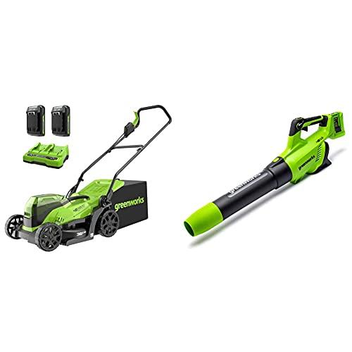 Greenworks Tools 2513407UC Cortacésped, 48V + Soplador Axial a Batería GD24X2AB, Soplador axial de iones de litio 2 x 24V 217 km/h con Control electrónico de velocidad,