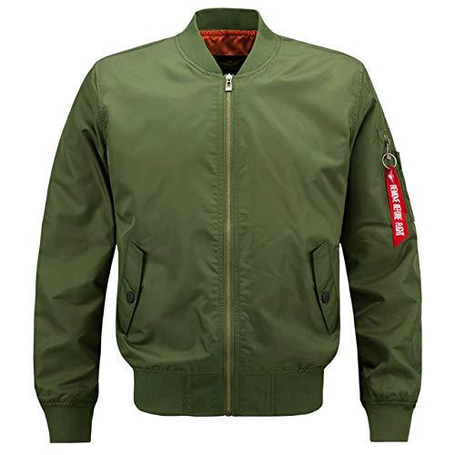 HNOSD Herren Casual Jacke, große Größe, Herren, Pilotenjacke, Hip-Hop, Herren, große Größe, Drop Shipping Gr. XL, Armee grün