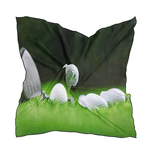 ALARGE Bufanda cuadrada de seda deportiva con impresión de pelota de golf, protector solar ligero y suave, bufandas de pañuelo para mujeres y niñas
