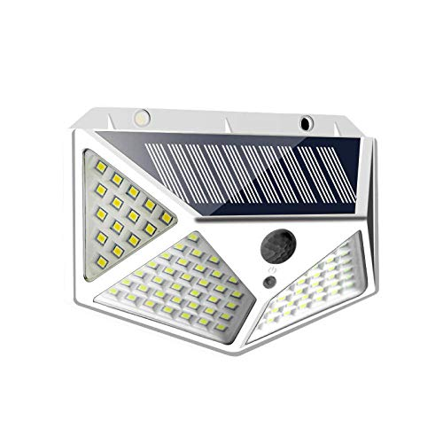 Luz solar de 100 LED, lámpara solar al aire libre, luz solar, sensor de movimiento PIR impermeable, luz de calle para decoración de jardín