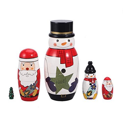 TOYANDONA 5 Stücke Matroschka Puppen Holz Schneemann Weihnachtsmann Figur Matrjoschka Dekofigur Baum Russische Holzfiguren Tischdeko für Kinder Weihnachten Geschenke Mitgebsel Spielzeug