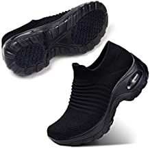 STQ Women's Slip On Walking Shoes Lightweight Mesh Casual Running Jogging Sneakers with Air Cushion Sole All Black, 7.5