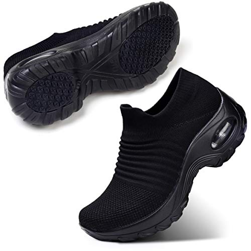 STQ Women's Slip On Walking Shoes Breathable Lightweight Mesh Casual Running Jogging Sneakers with Air Cushion Sole All Black, 9.5