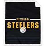 Pegasus Home Fashions Pittsburgh Steelers 60'' x 70'' Silk Touch Sherpa Throw Blanket