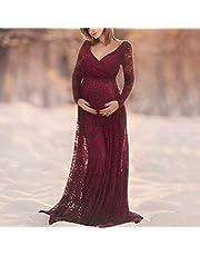 LYYCEU V-hals Jurk Lace lange jurk for de moeder de zwangerschap Dress, Maat: XXXL (Rode Wijn) de Q
