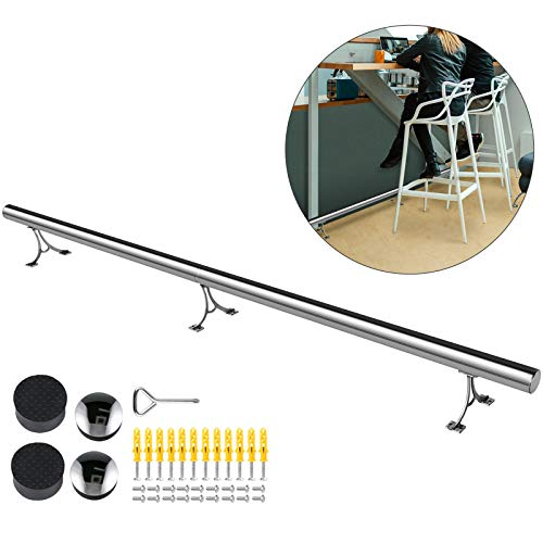 VBENLEM 2''OD Bar Foot Rail Kit 8FT Long Solid Bar Mount Foot Rail Kit,Brushed Stainless Steel Tubing,Bar Foot Rail Tubing Kit for Floor,Bar Foot Rest w/2 Floor Mount Brackets and 2 Flat End Caps