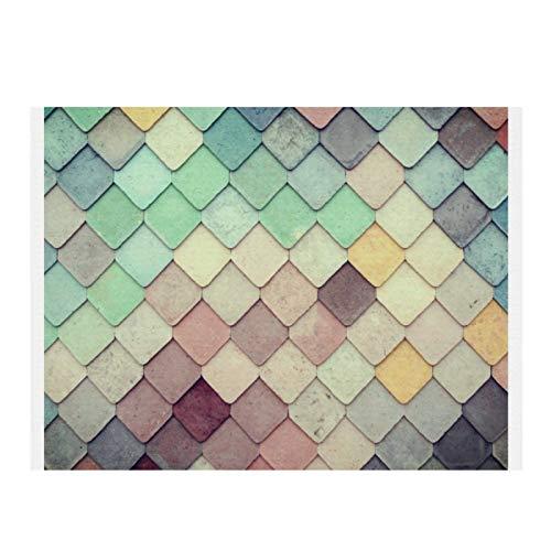 Alfombrilla de secado de platos de microfibra para cocina, azulejos de mosaico de color súper absorbente, de secado rápido, almohadilla de secado para platos de cocina, 15,7 x 11,8 cm