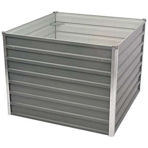 Festnight- Hochbeet Pflanzkasten mit Sicherheitskanten 100 x 100 x 77 cm Verzinkter Stahl Grau