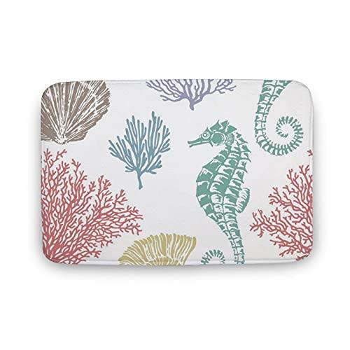 DKISEE Soft Non-Slip Door Mat Sea Shells Stars Seahorse and Coral Bath Mat Coral Fleece Area Rug Floor Mat Indoor Outdoor Mat 16 X 24 Inch