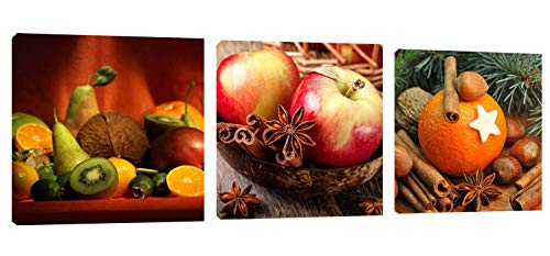 "Kitchen Art Apple Orange Wall Decor 48"" x 16"" Canvas Prints Artwork Pictures Painting on Canvas for Living Room Home Decoration"